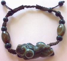 开光天然西藏天眼石貔貅手链避邪招财