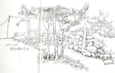 乡村的小路手绘图片