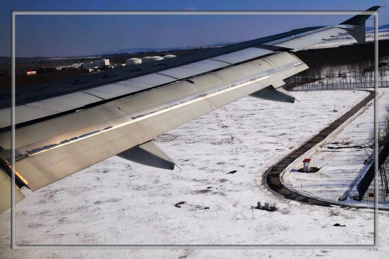 上海至沈阳的飞机上